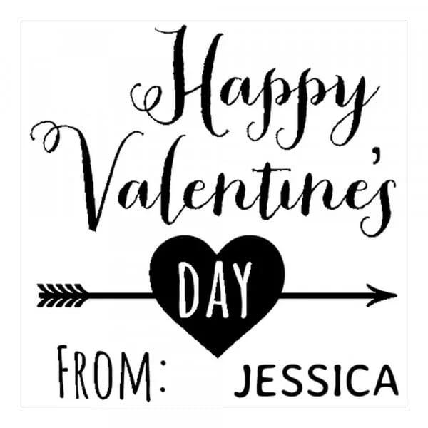 Tampon monogramme carré - Joyeuse Saint Valentin !