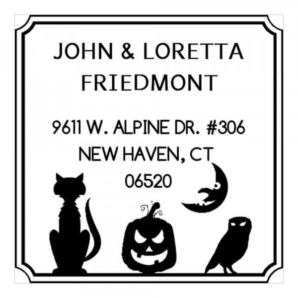 Tampon monogramme carré - Les amis pour Halloween