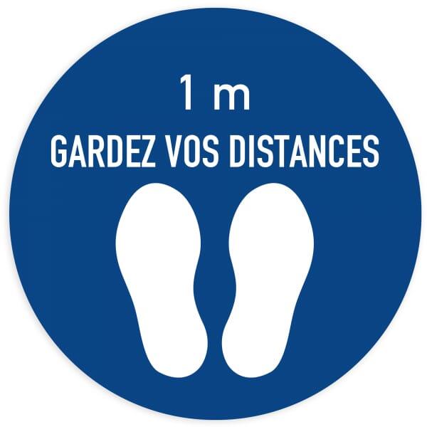 Marquage au sol Distance sociale (x3) - Cercle bleu (400x400mm)