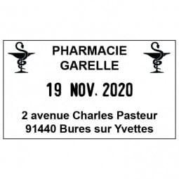Tampon dateur pour une pharmacie - Trodat Metal Line 5440 - 49 x 28 mm