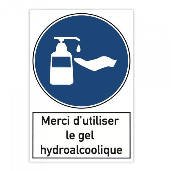 Plaque d'avertissement en aluminium (x2) - Merci d'utiliser le gel hydroalcoolique (300x200mm)