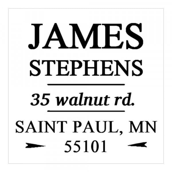 Tampon monogramme carré - Adresse décorative