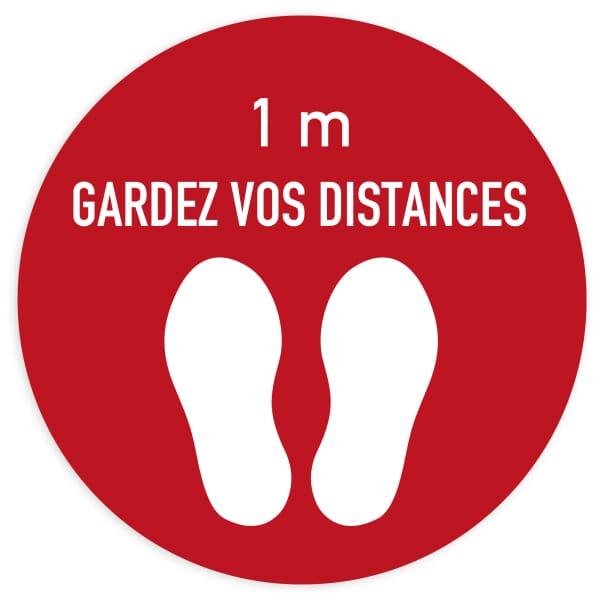 Marquage au sol Distance sociale (x3) - Cercle rouge (400x400mm)