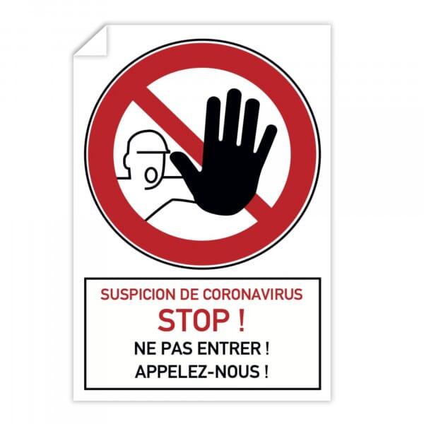 Autocollant d'interdiction (x10) - Suspicion de coronavirus Stop, Ne pas entrer (300x200mm)