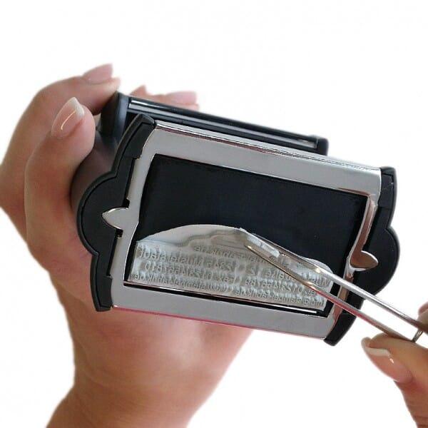 Plaque de texte personnalisée pour Trodat Metal Line 52040 - diam. 40mm - 8 lignes
