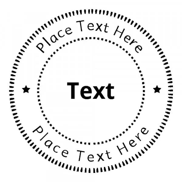 Tampon monogramme rond - Cercles pointillés