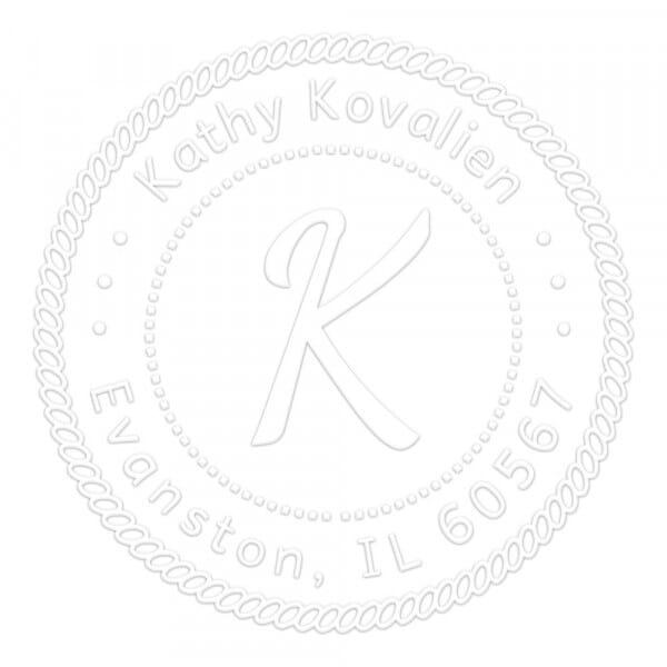 Prensa de sellado en seco monograma redondo - Decoración marítima