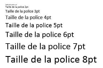 Téléchargement d'un tampon - taille de police