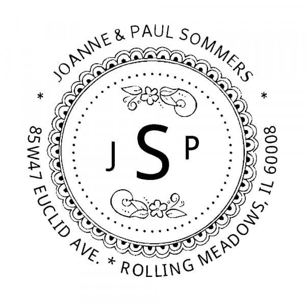 Tampon monogramme rond - Cachet décoratif avec initiales
