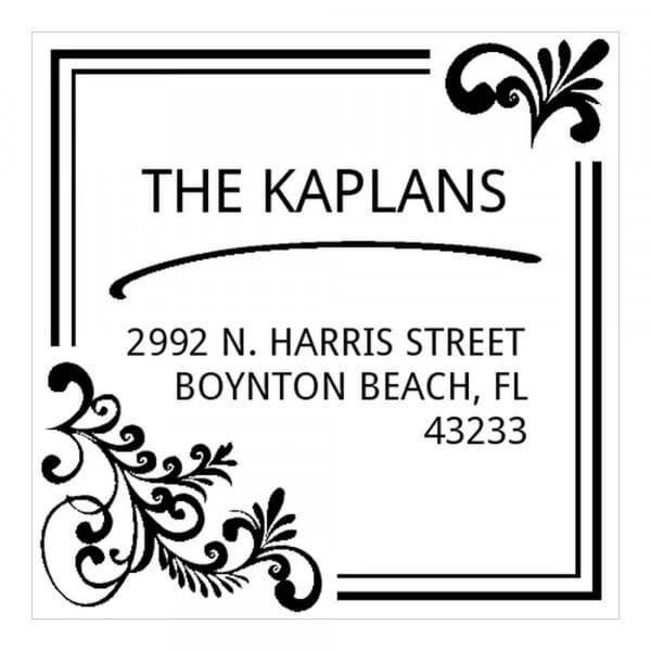 Tampon monogramme carré - Adresse design élégant