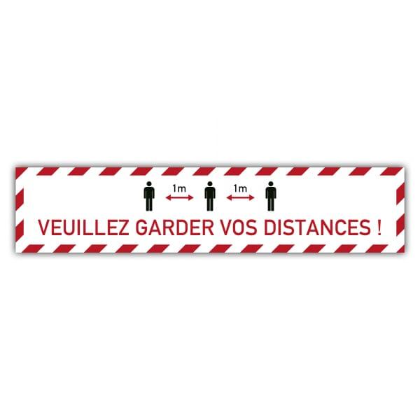 Marquage au sol Distance sociale (x3) - 1m Veuillez garder vos distances (700x150mm)