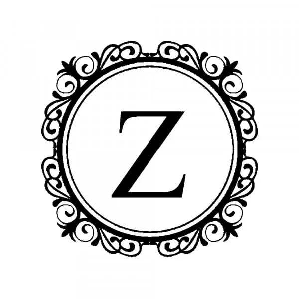 Tampon monogramme rond - Cercle floral décoratif