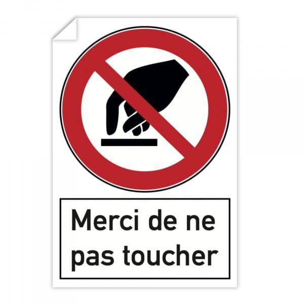 Autocollant d'interdiction (x10) - Merci de ne pas toucher (300x200mm)