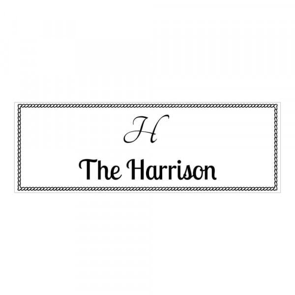 Tampon monogramme rectangulaire - Cadre motif corde