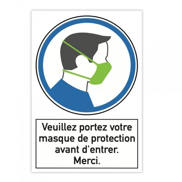 Plaque d'instruction de sécurité en aluminium (x2) - Veuillez portez votre masque de protection