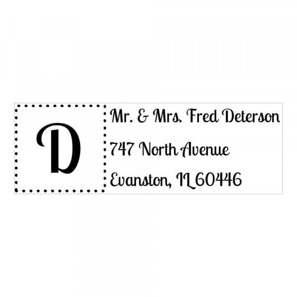 Tampon monogramme rectangulaire - Adresse avec initiales encadrée