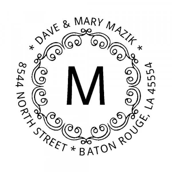 Tampon monogramme rond - Boucles décoratives avec initiales