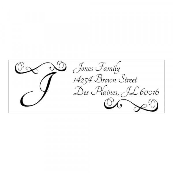 Tampon monogramme rectangulaire - Arabesques design et initiales