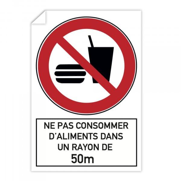 Autocollant d'interdiction (x10) - Consommation d'aliments interdite (300x200mm)