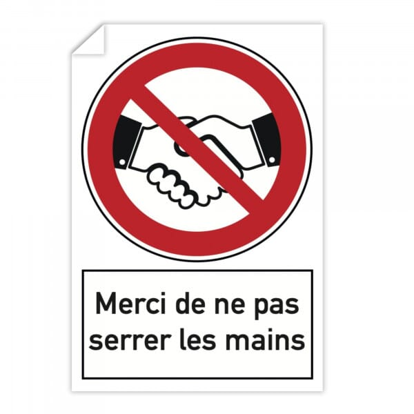 Autocollant d'interdiction (x10) - Merci de ne pas serrer les mains (300x200mm)