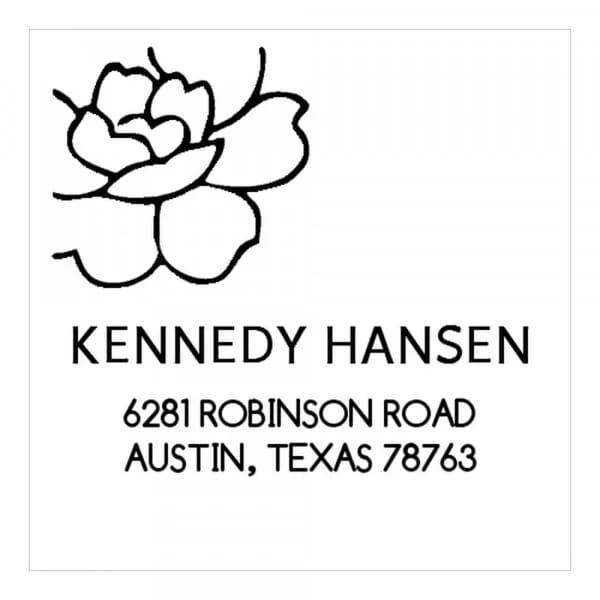 Tampon monogramme carré - Eclosion de fleur décorative