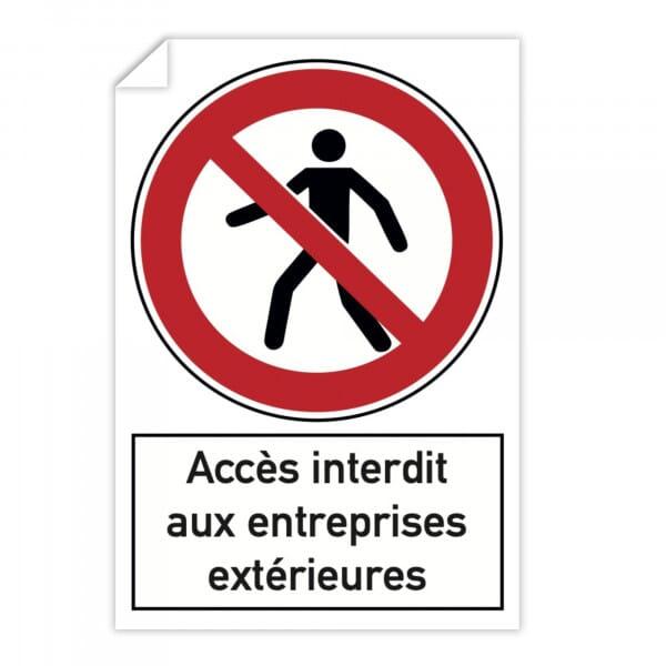 Autocollant d'interdiction (x10) - Accès interdit aux entreprises extérieures (300x200mm)