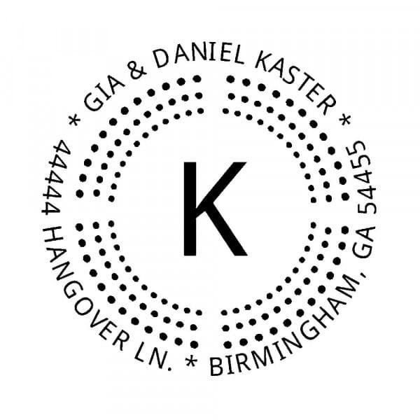 Tampon monogramme rond - Pointillisme
