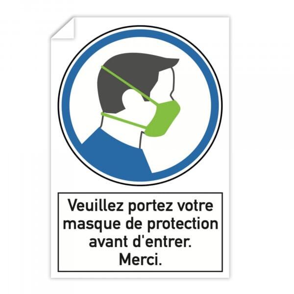 Autocollant d'instruction de sécurité (x3) - Veuillez portez votre masque de protection avant d'entr