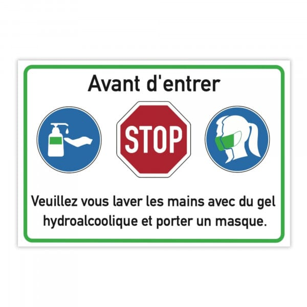 Autocollant d'avertissement (x10) - Avant d'entrer - Veuillez vous laver les mains (300x200 mm)
