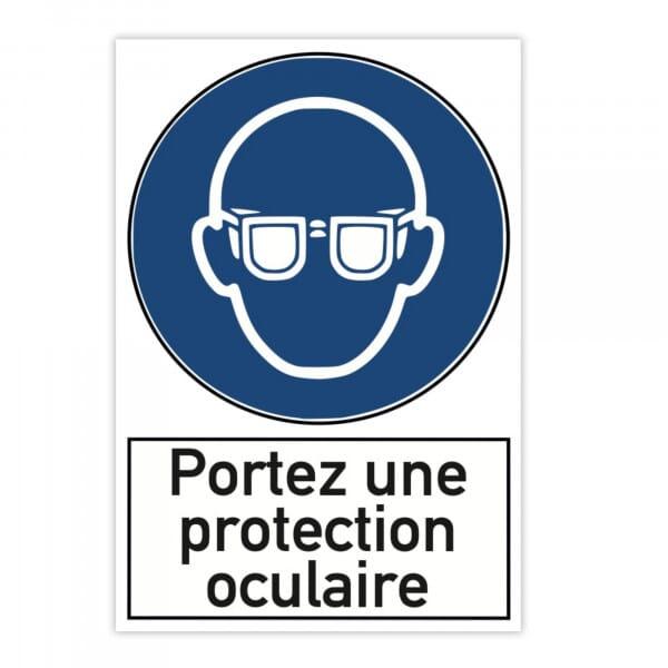 Plaque d'avertissement en aluminium (x2) - Portez une protection oculaire (300x200mm)