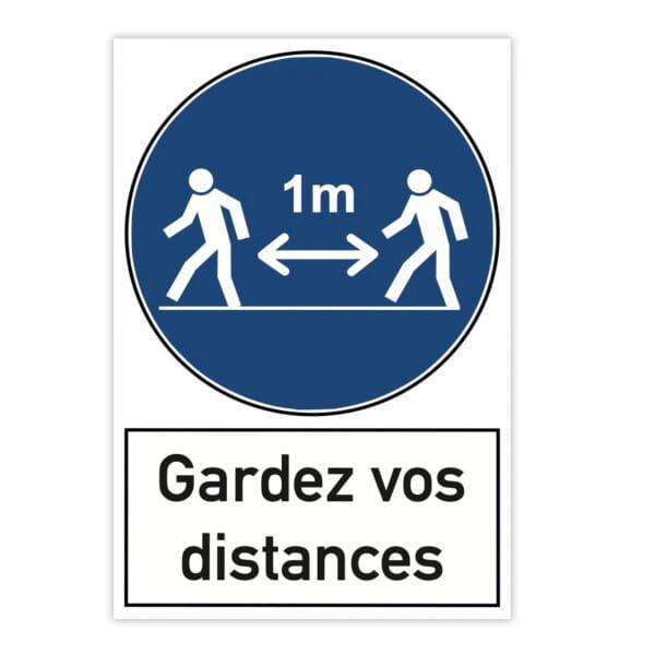 Plaque d'avertissement en aluminium (x2) - Gardez vos distances (300x200mm)
