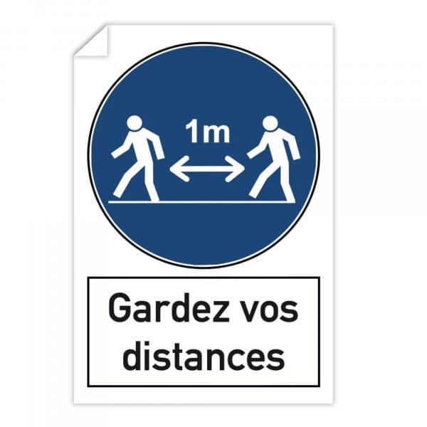 Autocollant de distance sociale (x10) - 1m Gardez vos distances (300x200mm)