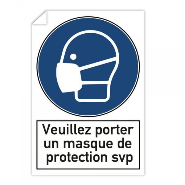 Autocollant d'avertissement (x10) - Veuillez porter un masque de protection svp (300x200mm)