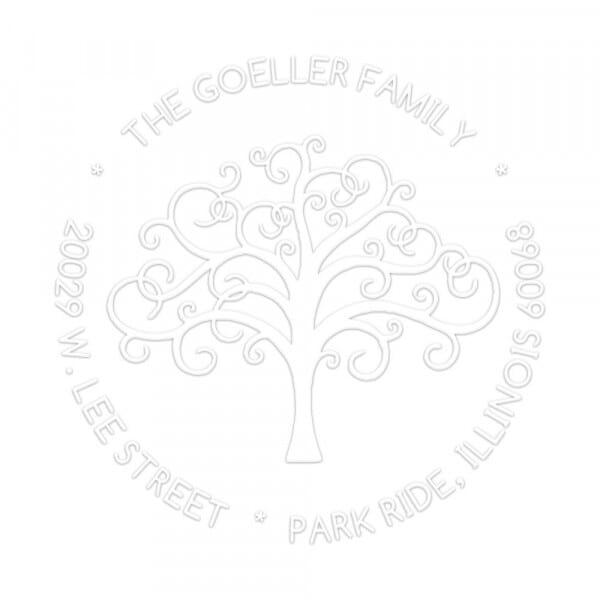 Prensa de sellado en seco monograma redondo - Árbol genealógico