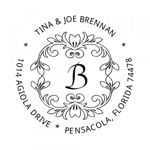 Tampon monogramme rond - Adresse motif floral