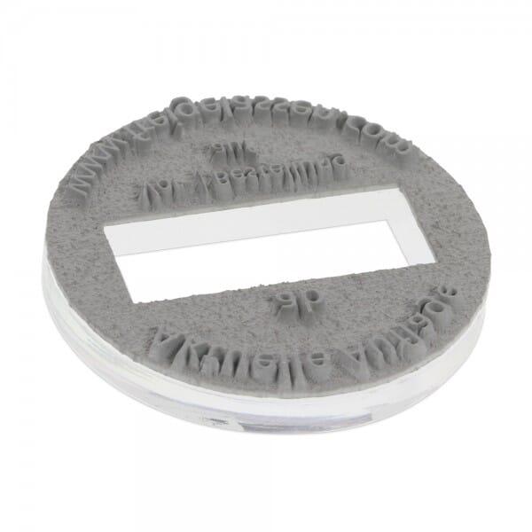 Plaque de texte personnalisée pour Trodat Metal Line dateur 54140 - diam. 40mm - 3+3 lignes