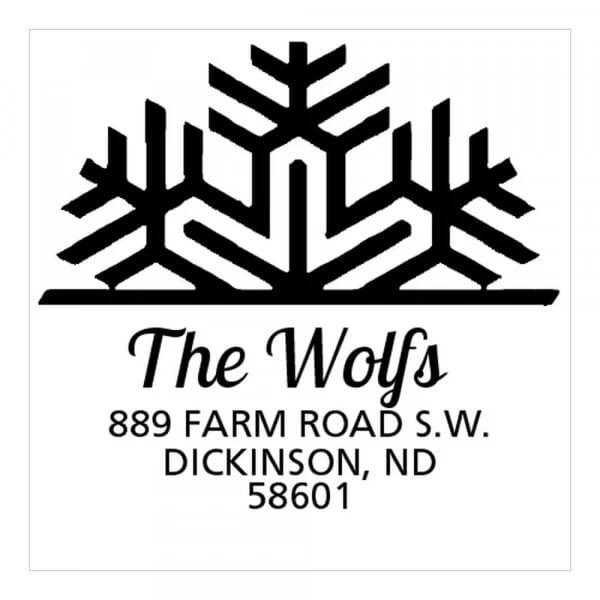 Tampon monogramme carré - Flocon de neige déco