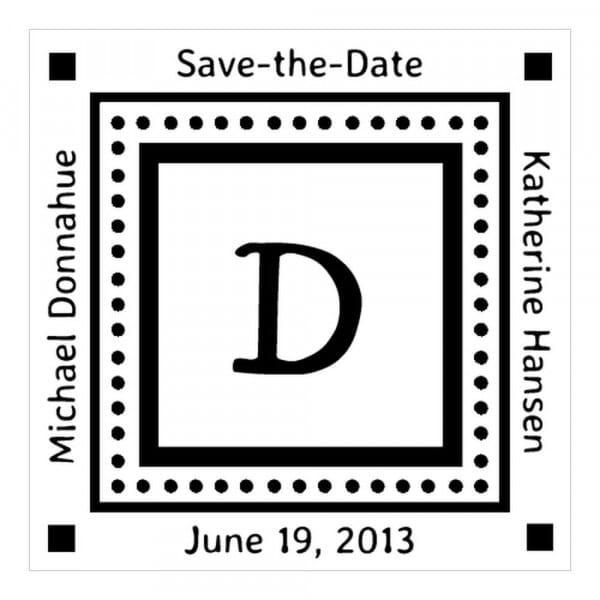 Tampon monogramme carré - Réserve cette date