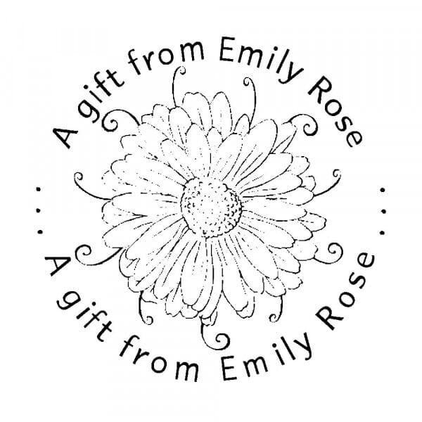 Tampon monogramme rond - Fleur décorative pour offrir un cadeau