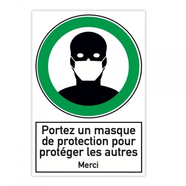 Plaque d'instruction de sécurité en aluminium (x2) - Portez un masque de protection (300x200mm)