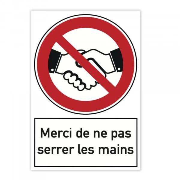Plaque d'interdiction en aluminium (x2) - Merci de ne pas serrer les mains (300x200mm)