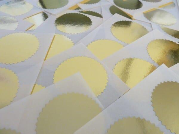 Etiquettes dorées pour pinces à sec - diam. 55 mm (250 pièces)