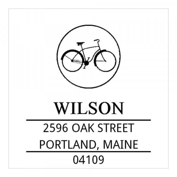 Tampon monogramme carré - Vélo vintage