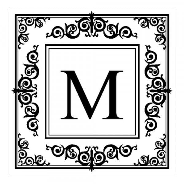 Tampon monogramme carré - Design oriental avec initiales