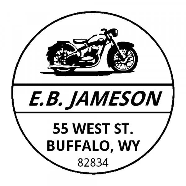 Tampon monogramme rond - Moto