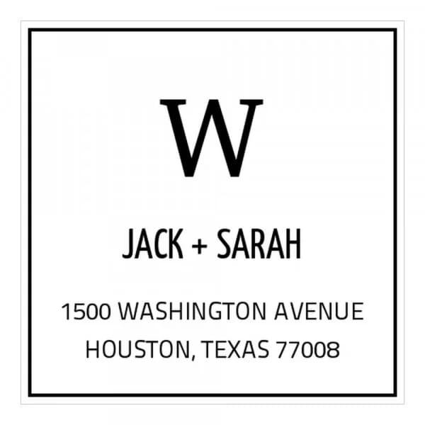 Tampon monogramme carré - initiales et adresse classique