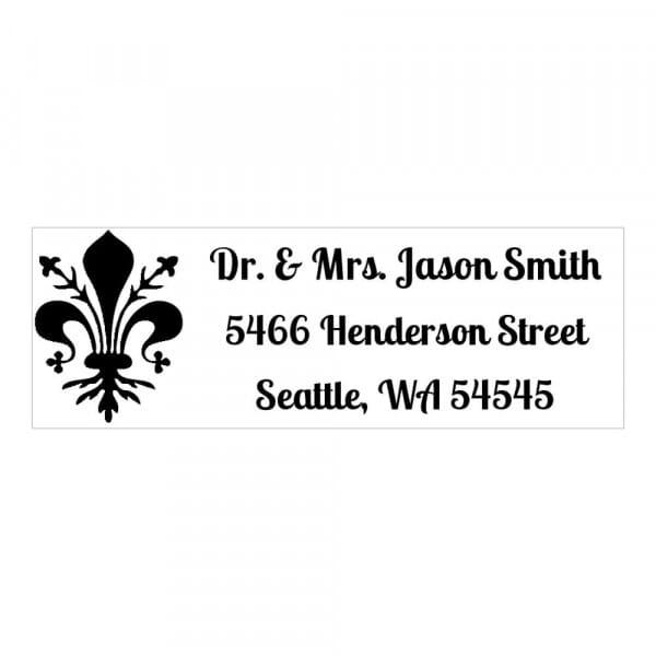 Tampon monogramme rectangulaire - Adresse Fleur de Lys