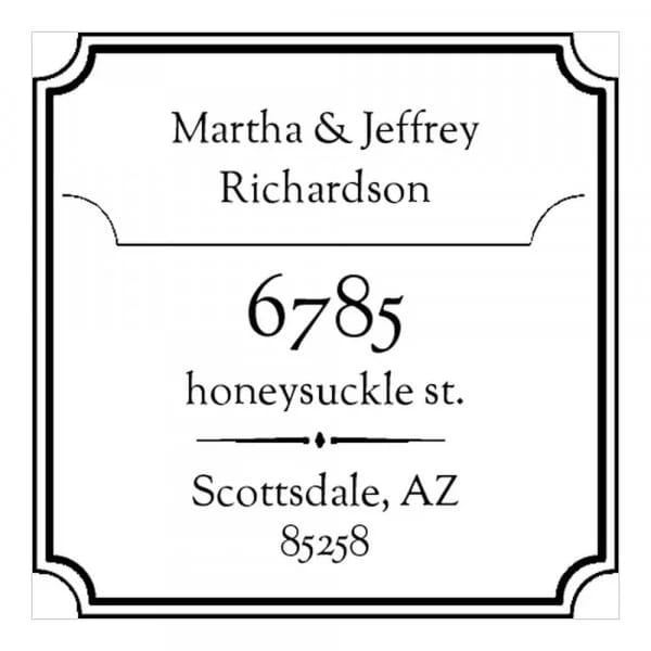 Tampon monogramme carré - Style plaque