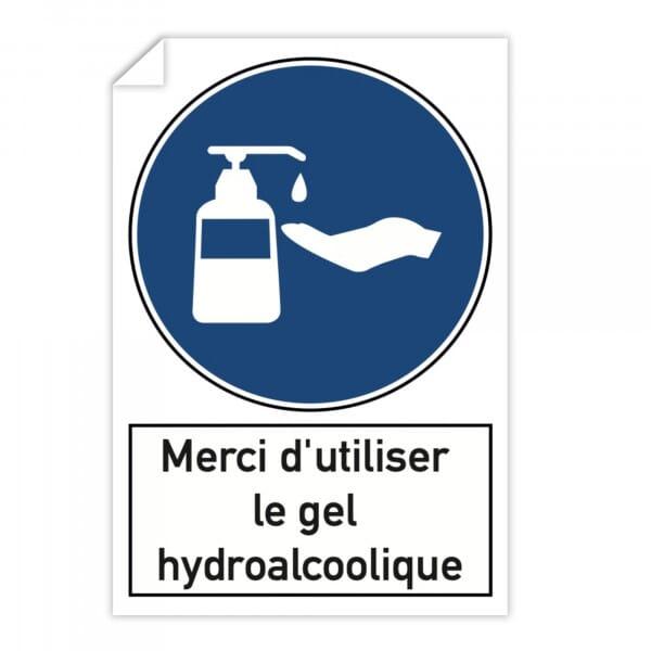 Autocollant d'avertissement (x10) - Merci d'utiliser le gel hydroalcoolique (300x200mm)