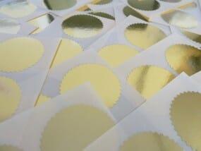 Etiquettes dorées pour pinces à sec - diam. 55 mm